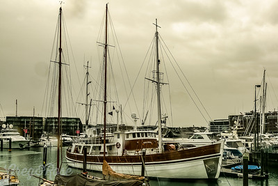 Galerna, a beautiful old motor sailor moored in the Viaduct basin of Auckland