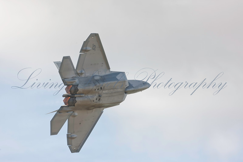 US Air Force Lockheed Martin Boeing F-22 Raptor performing an aerial demonstration at the 2010 RIAT Fairford airshow