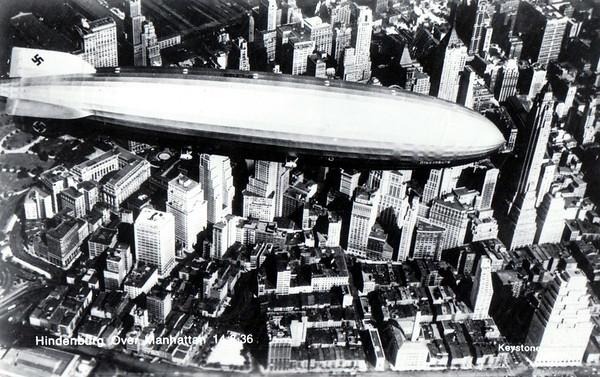 The Hindenburg over Manhattan in 1936.