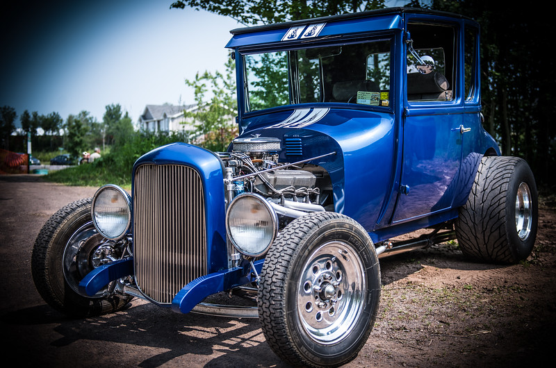 Old blue sport car
