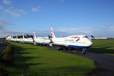 Five British Airways Boeing 747-400 series jumbo jets await scrapping at Kemble Airfield on 25 October 2020  KembleAirfield, Boeing747, BA