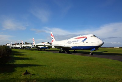 Five British Airways Boeing 747-400 series jumbo jets await scrapping at Kemble Airfield on 25 October 2020 1, Boeing747, BA, Aviation, KembleAirfield