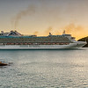"Emerald Cruise Ship ""Emerald Princess"" leaving St. John's Harbour at sunset, Antigua"
