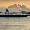 "Saga Cruise ship ""Quest for Adventure"" leaving St. John's Harbour at sunset, Antigua"
