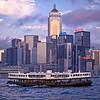 Star Ferry And Causeway Bay Skyline At Dusk, Hong Kong