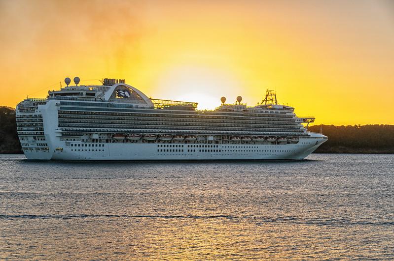 "Emerald Cruise Ship ""Emerald Princess"" leaving St. John's Harbour at sunset, Antigua"