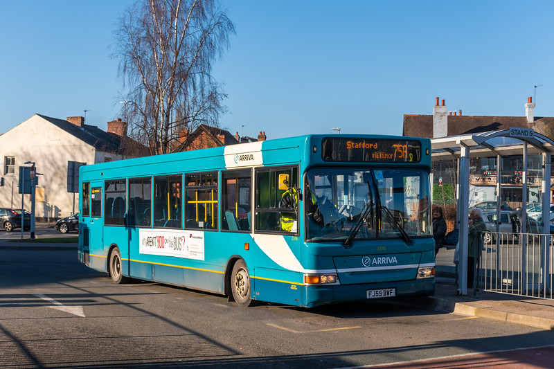 Arriva Midlands Dennis Dart/Plaxton Pointer FJ55BWF 2376, Cannock Bus Station