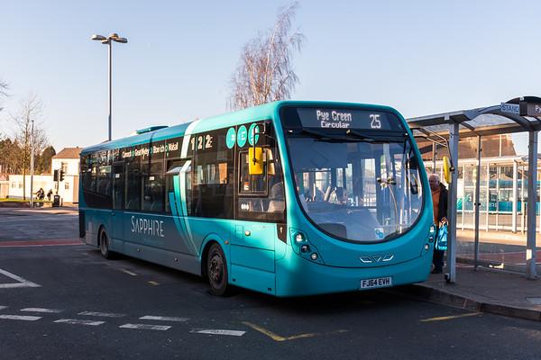 Arriva Midlands Wright Streetlite FJ64EVH 3306, Cannock Bus Station