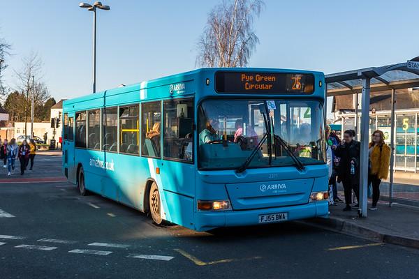 Arriva Midlands Dennis Dart/Plaxton Pointer FJ55BWA 2371, Cannock Bus Station
