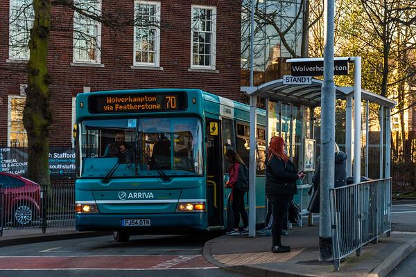 Arriva Midlands Dennis Dart/Plaxton Pointer FJ54OTN 2367, Cannock Bus Station