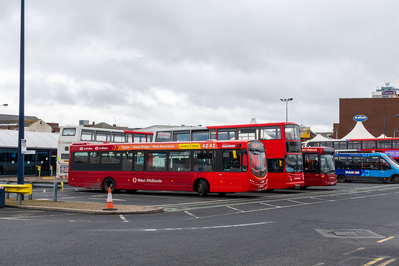 An array of buses at West Bromwich Bus Station