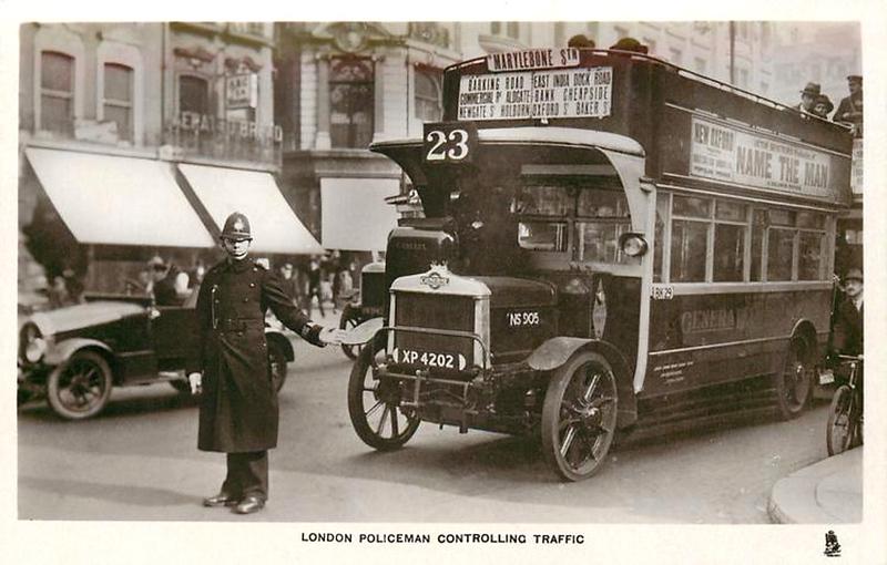 A London Policeman controlling traffic