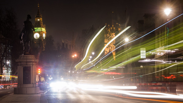 Whitehall traffic at night