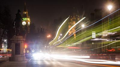 Whitehall traffic at night