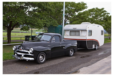Holden car with caravan at Gladfield, Queensland, Australia.