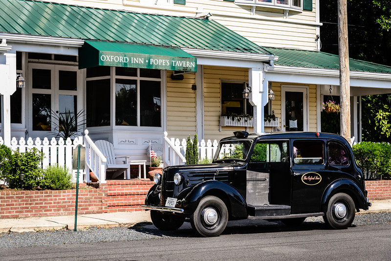 1958 Austin FX3 Taxi outside Oxford Inn, 504 South Morris Street, Oxford, Maryland