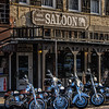 Motorcycles outside White Elephant Saloon, 106 E Exchange Ave, Stockyards Historic District, Fort Worth, Texas
