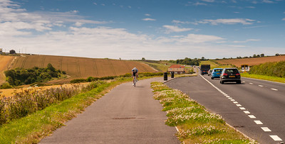 Cyclist on Weymouth cycleway