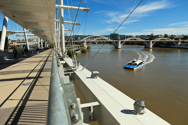 """Two Bridges in One Walk"" - walking Brisbane's Kurilpa and ""Go Between"" Bridges on a majestic winter's day, 16 July 2010; Queensland, Australia. Photos by Des Thureson:  <a href=""http://disci.smugmug.com"">http://disci.smugmug.com</a>"
