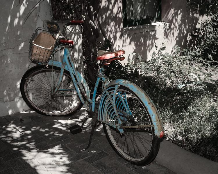 Old Bicycle in Garden of Historic Santa Fe Foundation, Canyon Road, Santa Fe, New Mexico