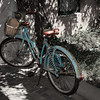 Old Bicycle in Garden of Historic Santa Fe Foundation, Canyon Road, Santa Fe, New Mexico