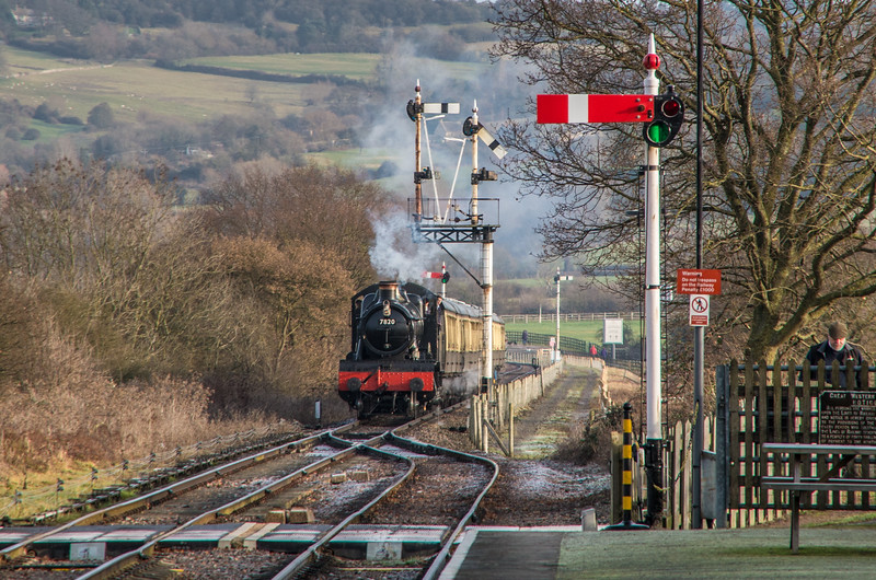 7820 'Dinmore Manor' arrives at Cheltenham Racecourse