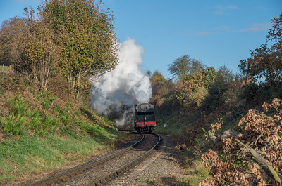 GWR 4500 class no. 4566 powers away from Arley