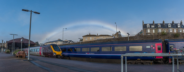 XC 221121 & GWR HST under the rainbow at Penzance