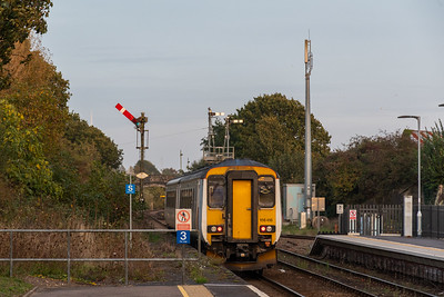 156416 departs Oulton Broad North bound for Lowestoft
