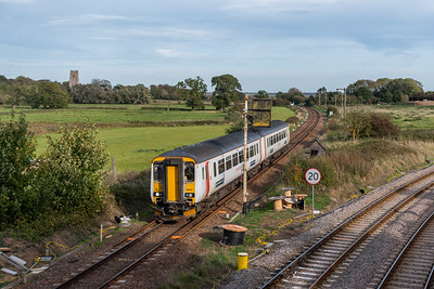 156412 passes RJ55 on approach to Reedham Junction. 2C23 Great Yarmouth to Norwich.