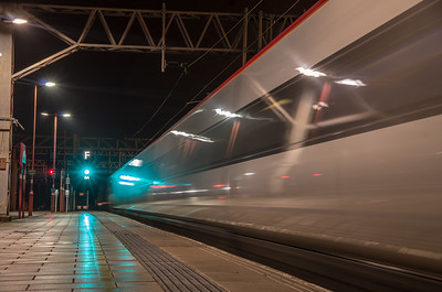 Virgin Trains Pendolino departs Stafford