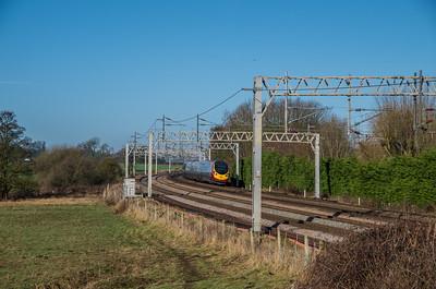 Virgin Trains class 390 at Heamies Curve