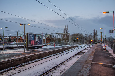 Wolverhampton station in the snow