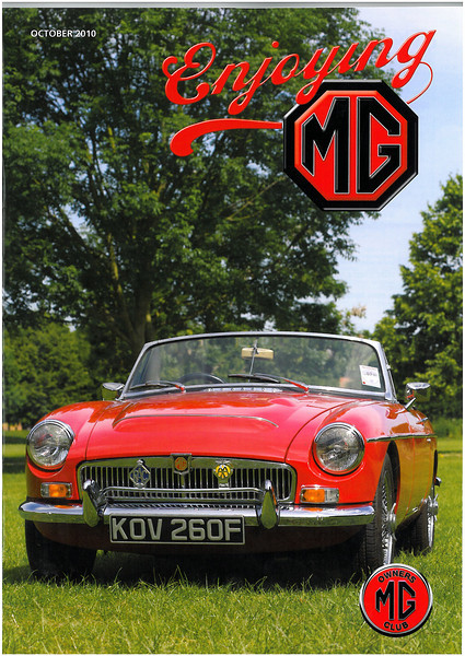 Cover of the October 2010 issue of the MG Owners Club Magazine using one of my photographs