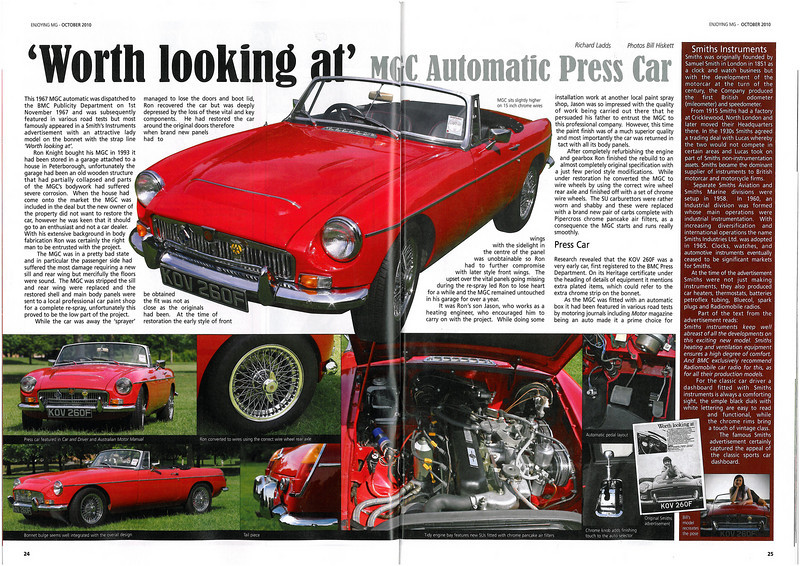 First two pages of an article printed in the MG Owners Club magazine, October 2010 issue, pictures mainly by myself