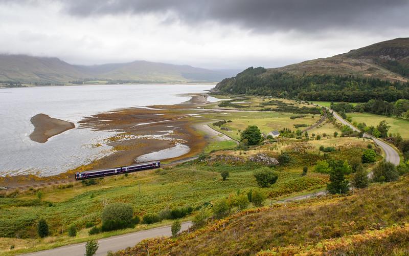 Passenger train in the Scottish Highlands