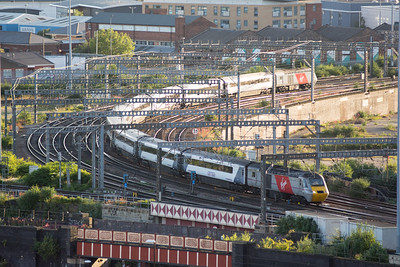 Virgin InterCity East Coast train approaching Leeds Railway Station