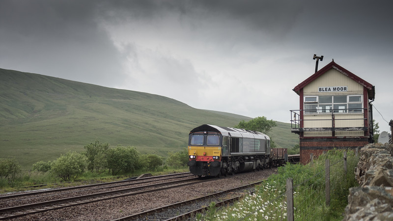 Freight train passing Blea Moor Signal Box