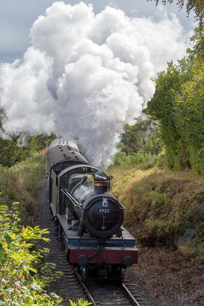4936 GWR Hall Class - Kinlet Hall climbs towards Combe Florey on the West Somerset Railway during the Autumn steam gala 2014