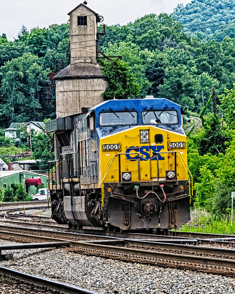 CSX Locomotive in front of concrete coaling tower, Ronceverte, West Virginia