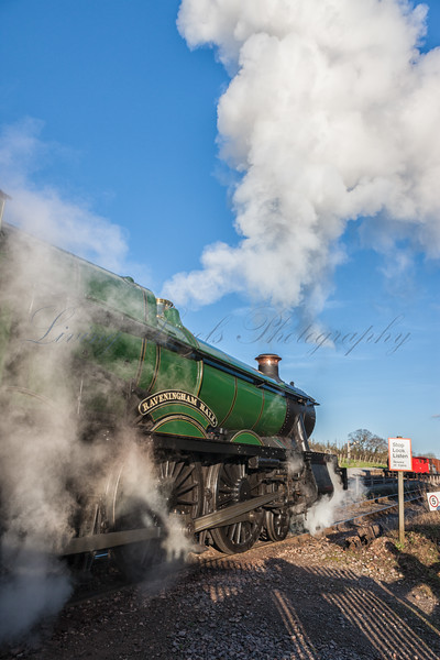 6960 GWR Hall Class - Raveningham Hall pulls out of Washford Station on a cold afternoon during the Winter Steam Gala