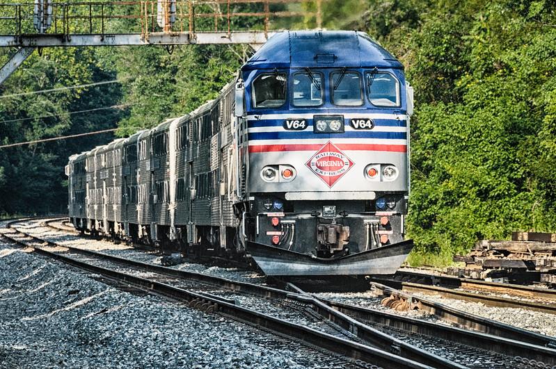 VRE  MP36PH-3C Locomotive No 64 passing Clifton, VA