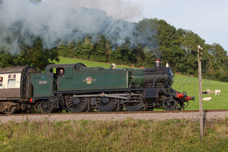 GWR Large Prairie class 4160 pulling up Williton Bank (Castle Hill) on the West Somerset Railway