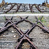 Cross-over tracks at ramp to Car Float loading dock, Eastern Shore Railroad, Cape Charles, Virginia