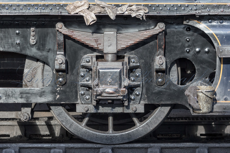 A wheel of the tender of 7F no 88 during a brake in routine maintenance at Minehead Station on the West Somerset Railway