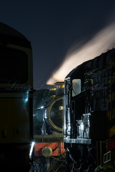 At the end of the West Somerset railway Winter Steam Gala, 7828 GWR Manor - Odney Manor steams down in a flood lit siding.