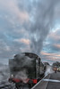 A frosty morning and GWR Large Pairie 4160 is steaming up and supplying heating steam to the carriages of the first train of the