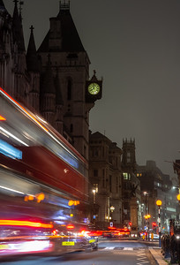 Fleet Street traffic at night