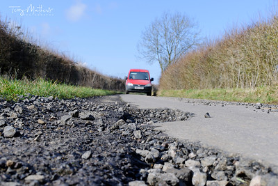 Pothole - Dangerous road in the UK