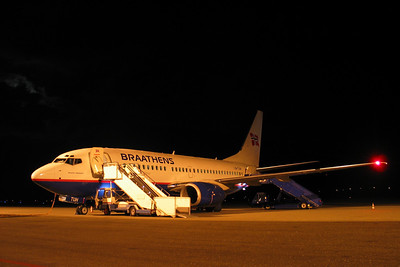 B737-700 at KRS Braathens B737-700 after the day's work. At Kristiansand Airport, Kjevik (KRS/ENCN)